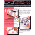 White Decal Film Ink Jet. Three sheet pack A4