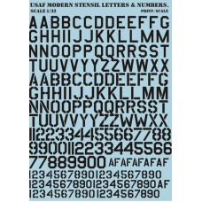 32-003 USAF modern stencil letters and numbers Black