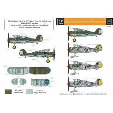Gloster Gladiator (J8, J8A) in Swedish Service Vol II 1/72 decals