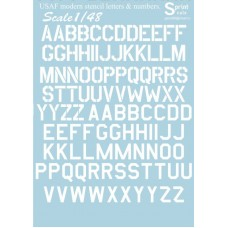 48-003 USAF modern stencil letters and numbers White