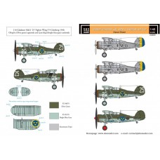 Gloster Gladiator (J8, J8A) in Swedish Service 1/48 decals