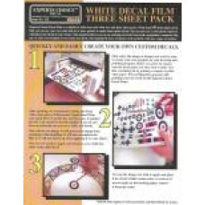 White Decal Film Laser. Three sheet pack A4